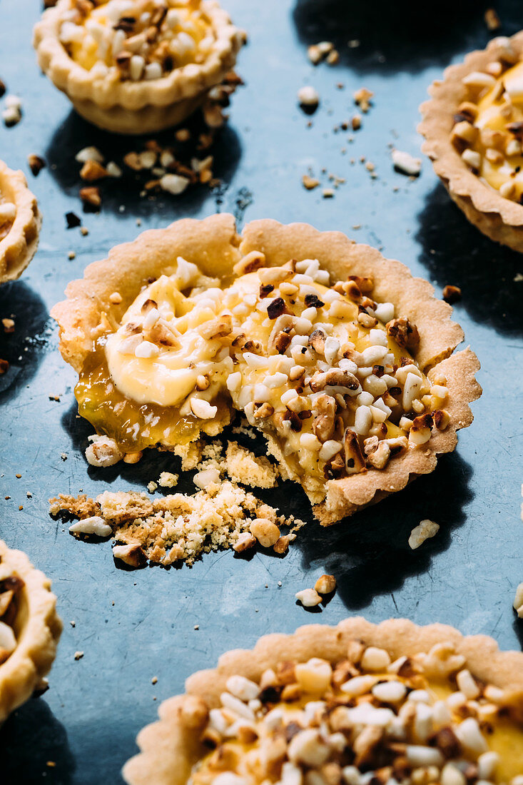 Shortcrust pastry custard tarts with a rhubarb and ginger conserve filling and toasted chopped nut topping