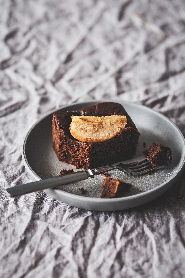 Slice of a pear brownie
