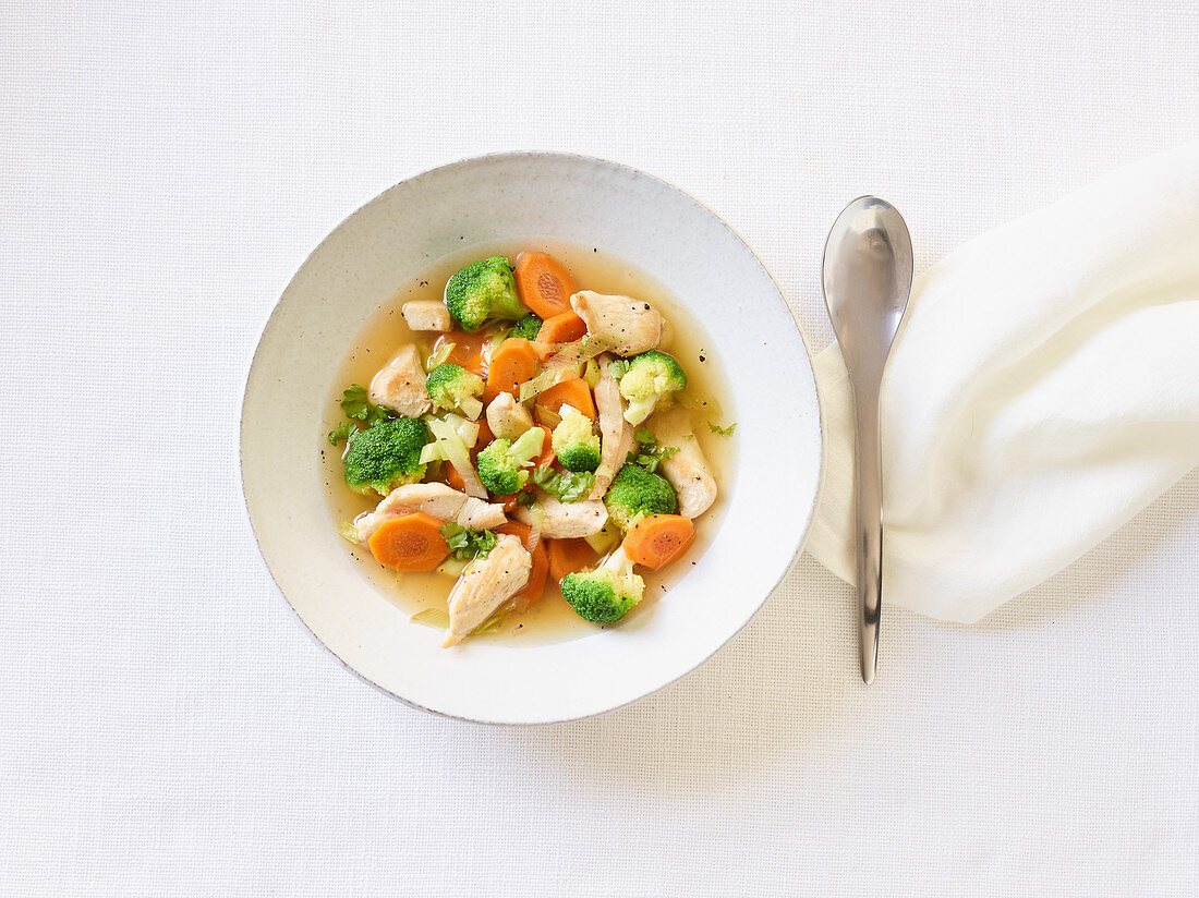Gluten-free chicken soup with vegetables