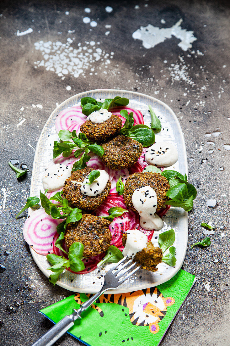 Falafel with beetroot