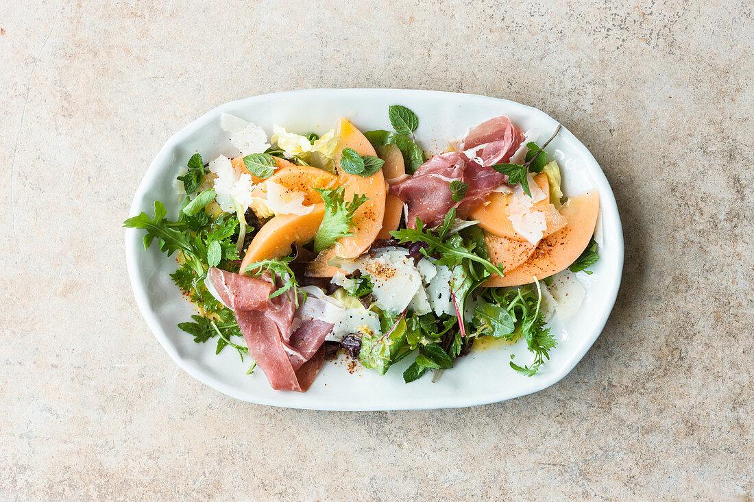 Melon and Parma ham salad