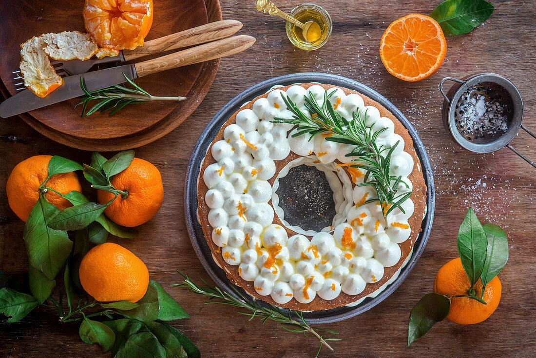 Honey layer cake with tangerine cream