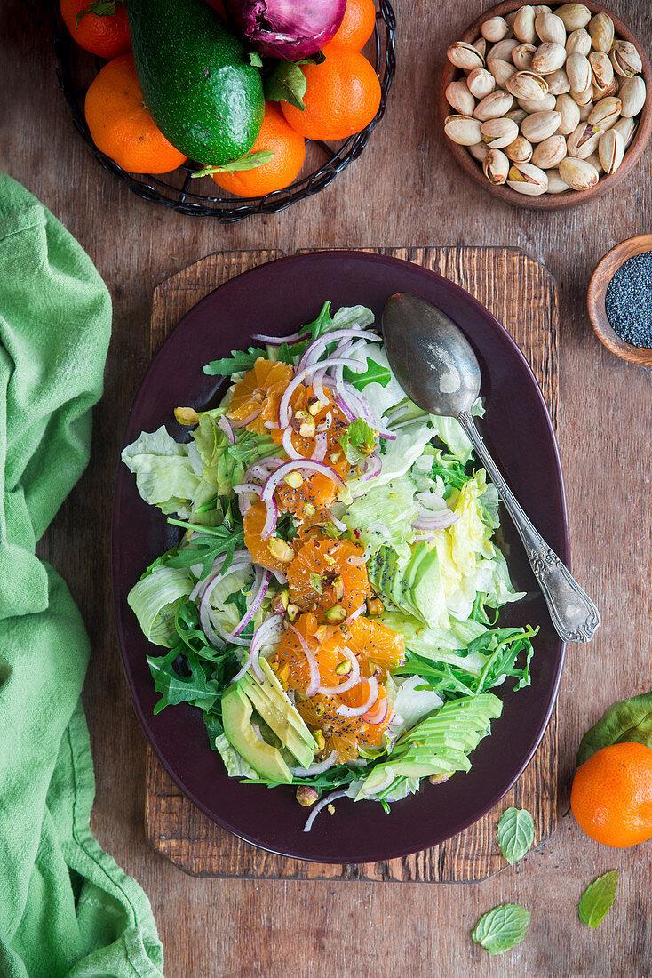 Tangerine avocado salad