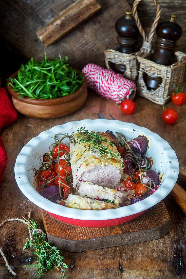 Pork fillet with vegetables