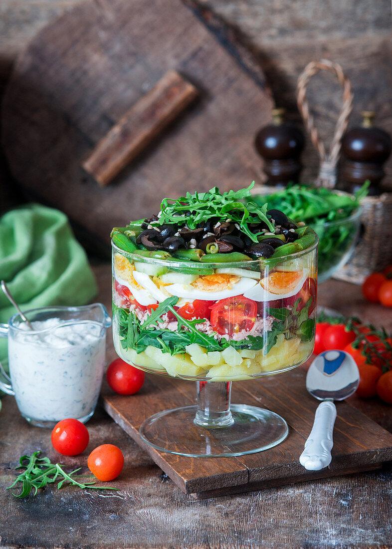 Nicoise layered salad with tuna