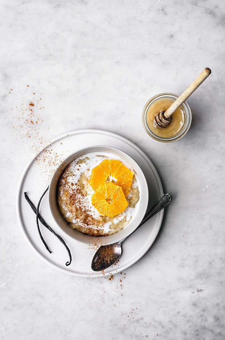 Vanilla Rice Pudding with Orange and Coconut Milk