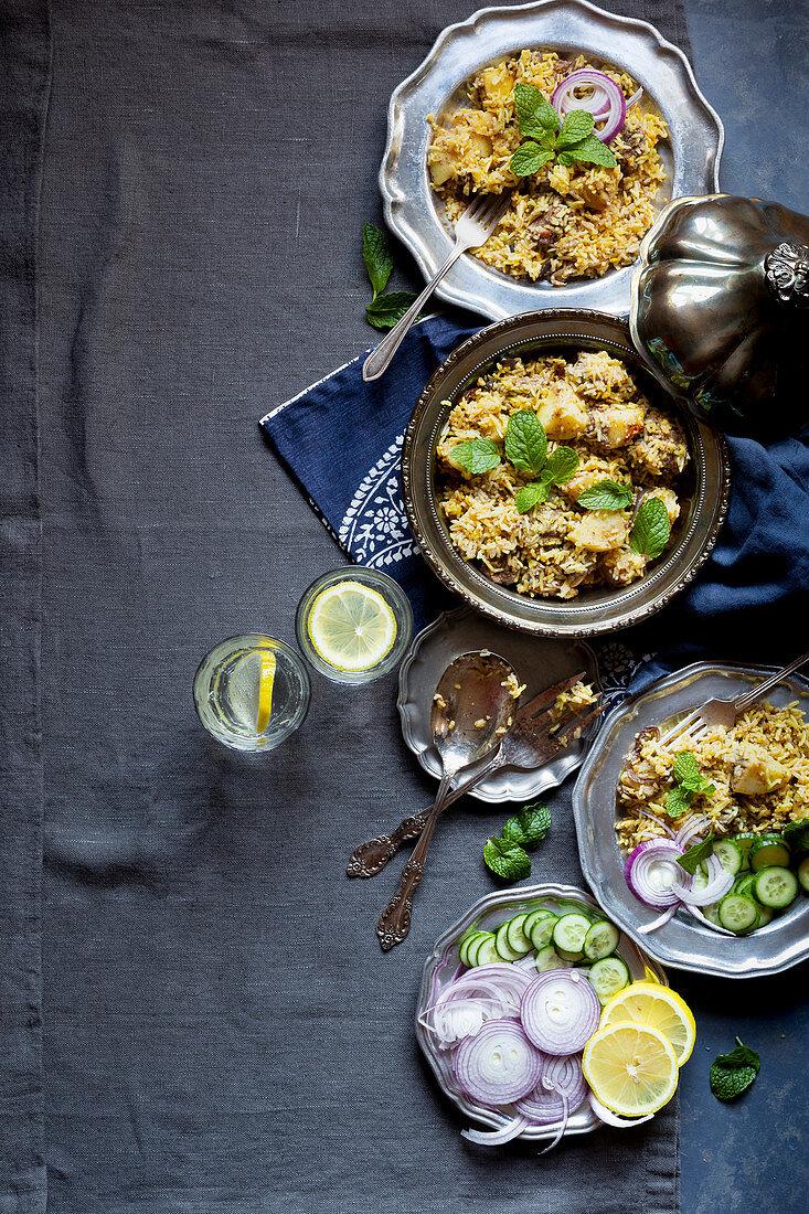 Biryani with mutton (Asia)