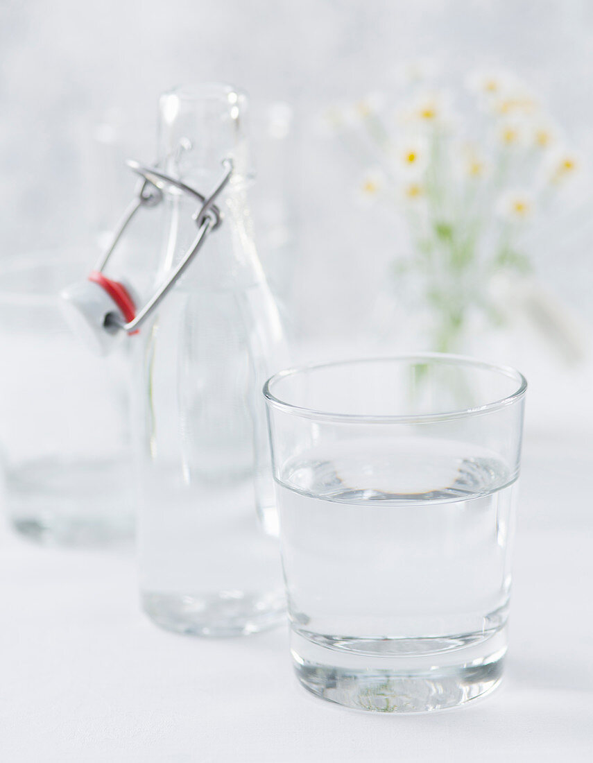A glass and bottle of water