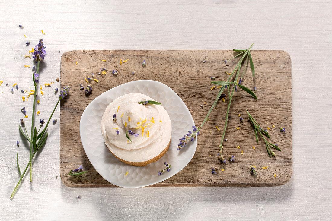 Orange tart with lavender