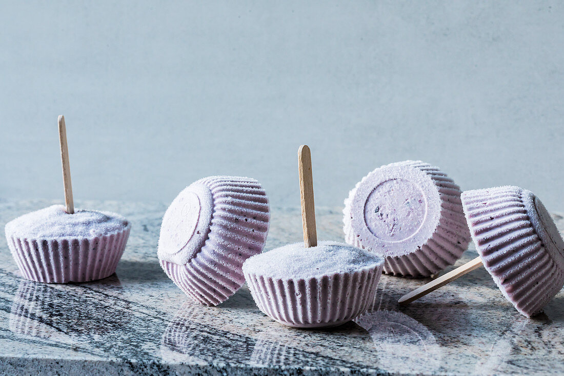 Blueberry and buttermilk ice cream