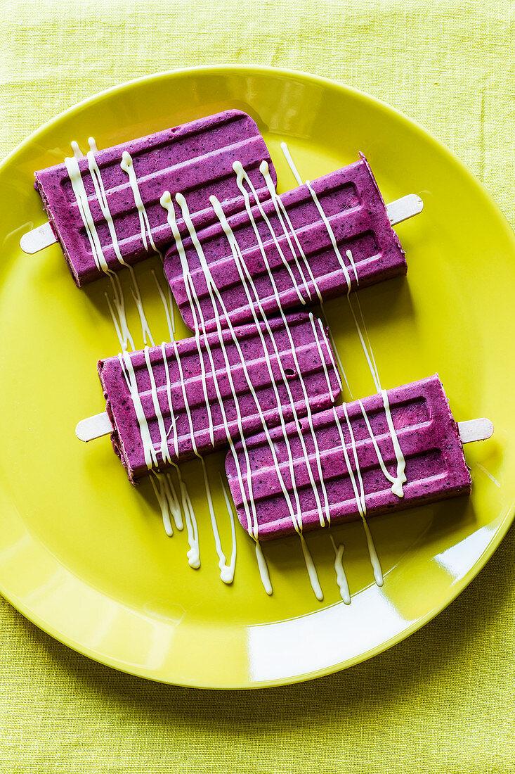 Summer blackberry and chocolate ice cream sticks