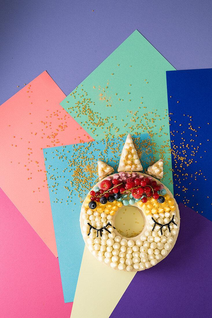 A unicorn cake for a children's birthday