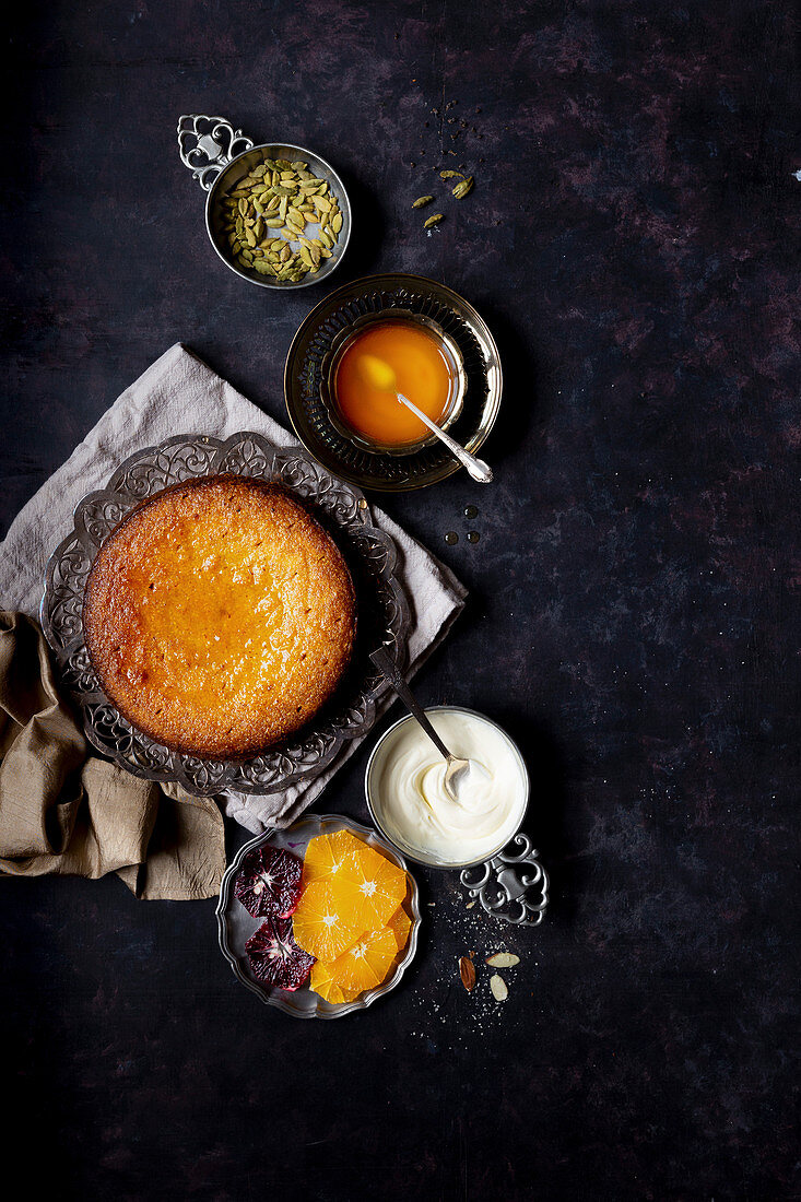 Whole orange olive oil cake with almond and cornmeal, finished with cardamom orange syrup (Gluten-free)