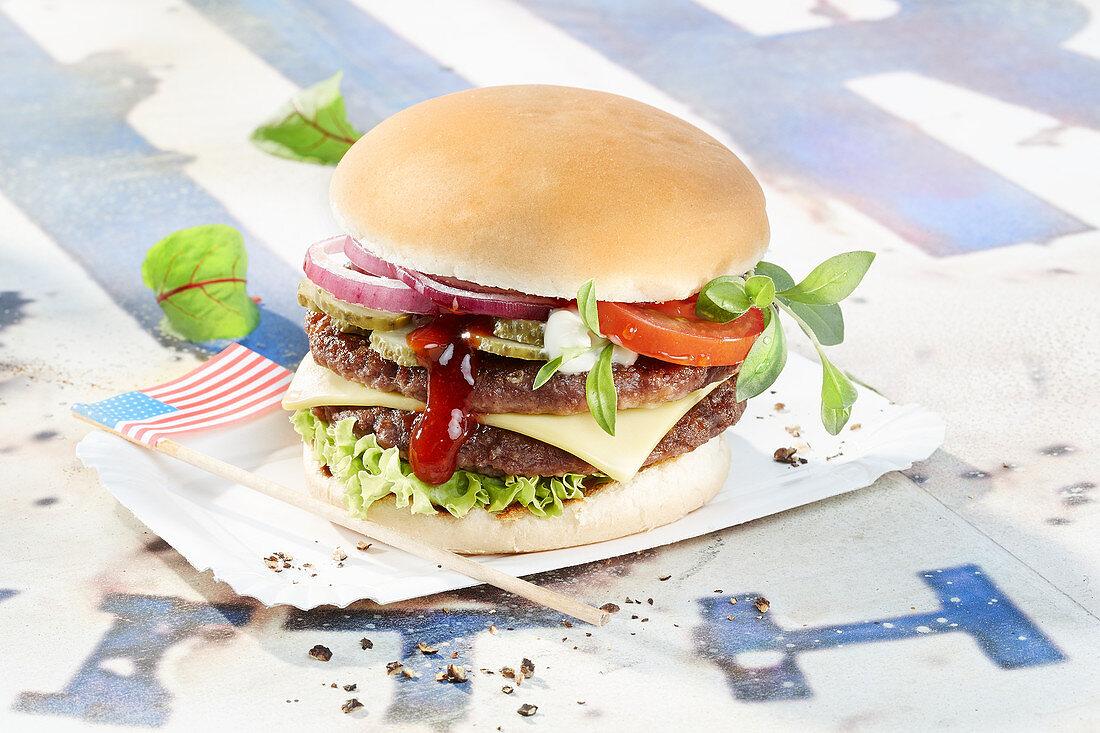 A cheeseburger with USA flag