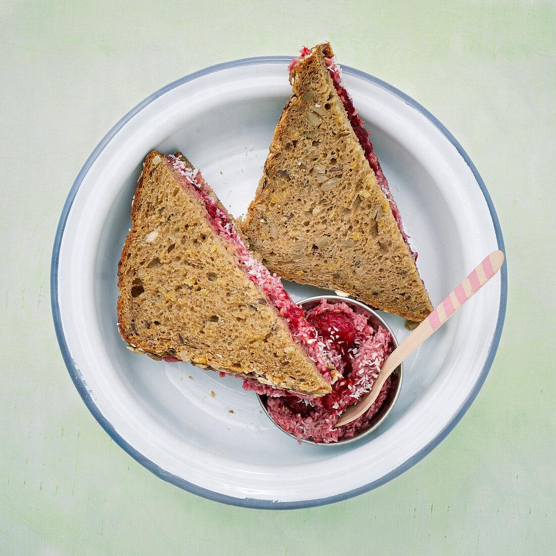 Raspberry and banana sandwiches