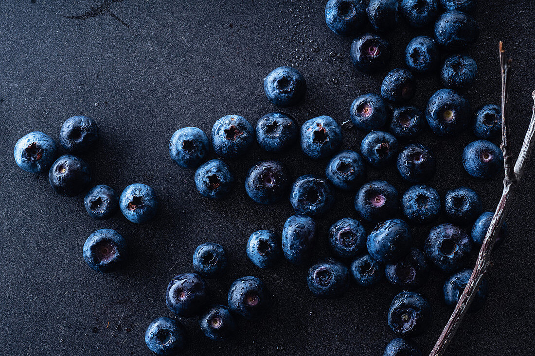 Fresh ripe blueberries on dark background
