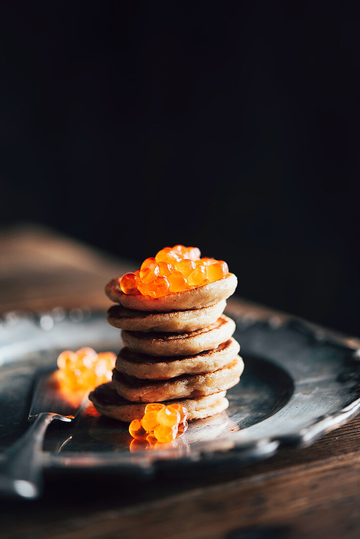 Blinis Demidoff with Sour Cream and Red Caviar