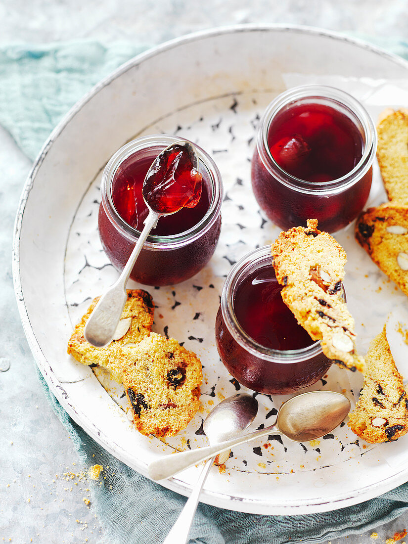 Cherry Jelly with Sour Cherry Almond Biscotti