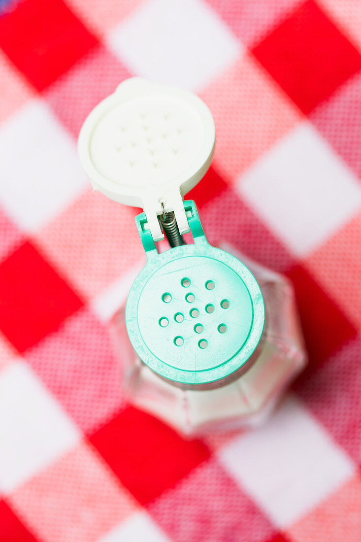 A salt shaker on a checked tablecloth