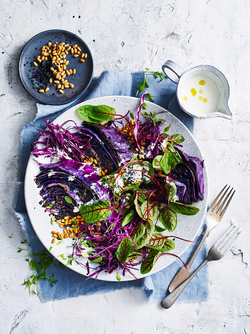 Grilled Red Cabbage with Gorgonzola Buttermilk Dressing