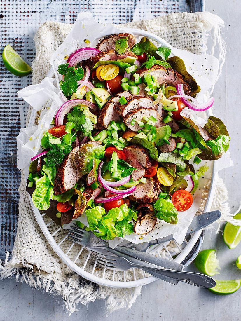 Tex Mex opork with summer salad