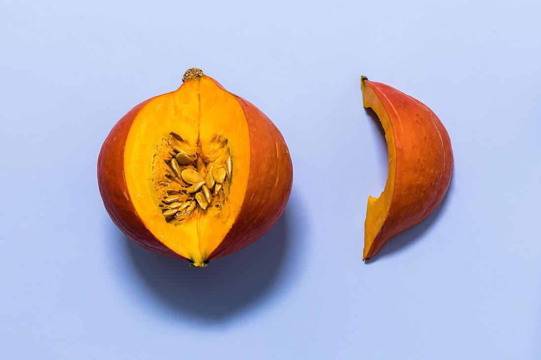 Hokkaido pumpkin being prepared