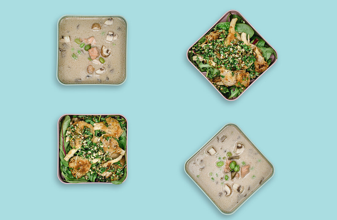 Mushroom soup with salmon, and mushroom piccata with gremolata on a bed of salad (meal prep)