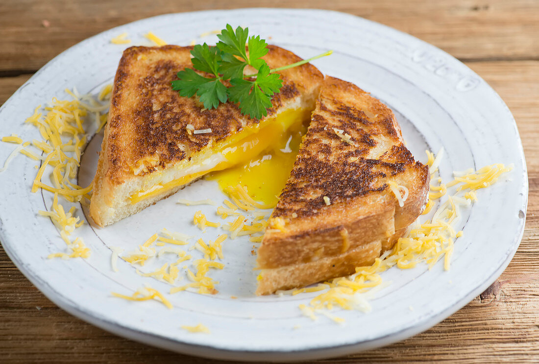 Grilled cheese sandwich with egg