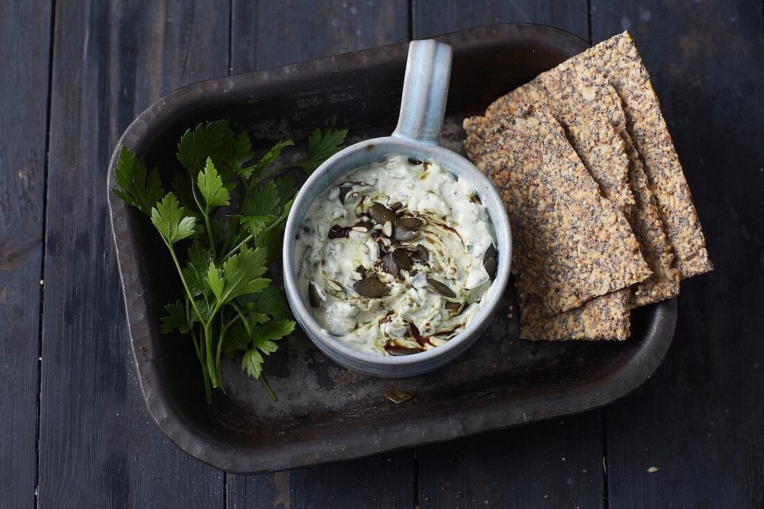 Pumpkin seed dip with crispbread