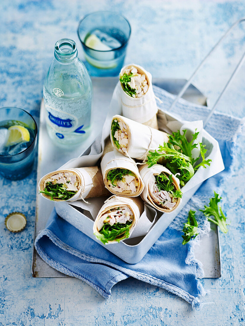 Chicken, Almond and Spinach Wraps