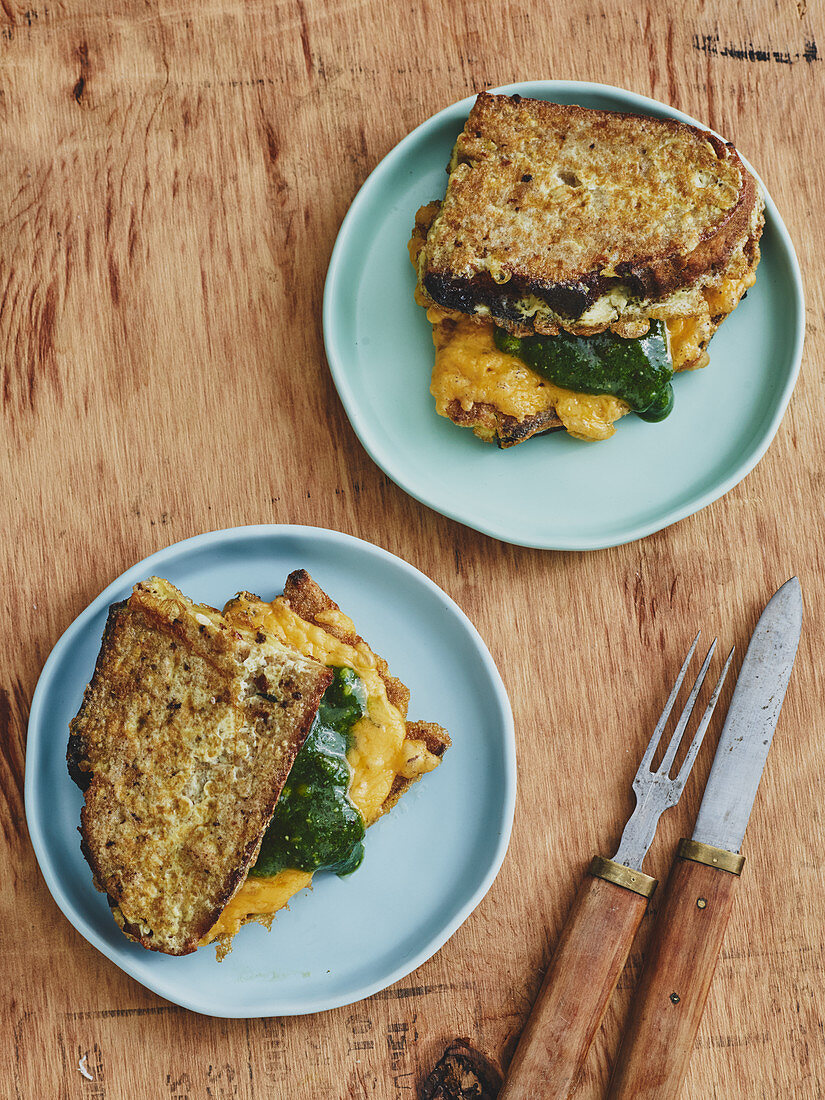 Savoury French toast with pesto and Cheddar