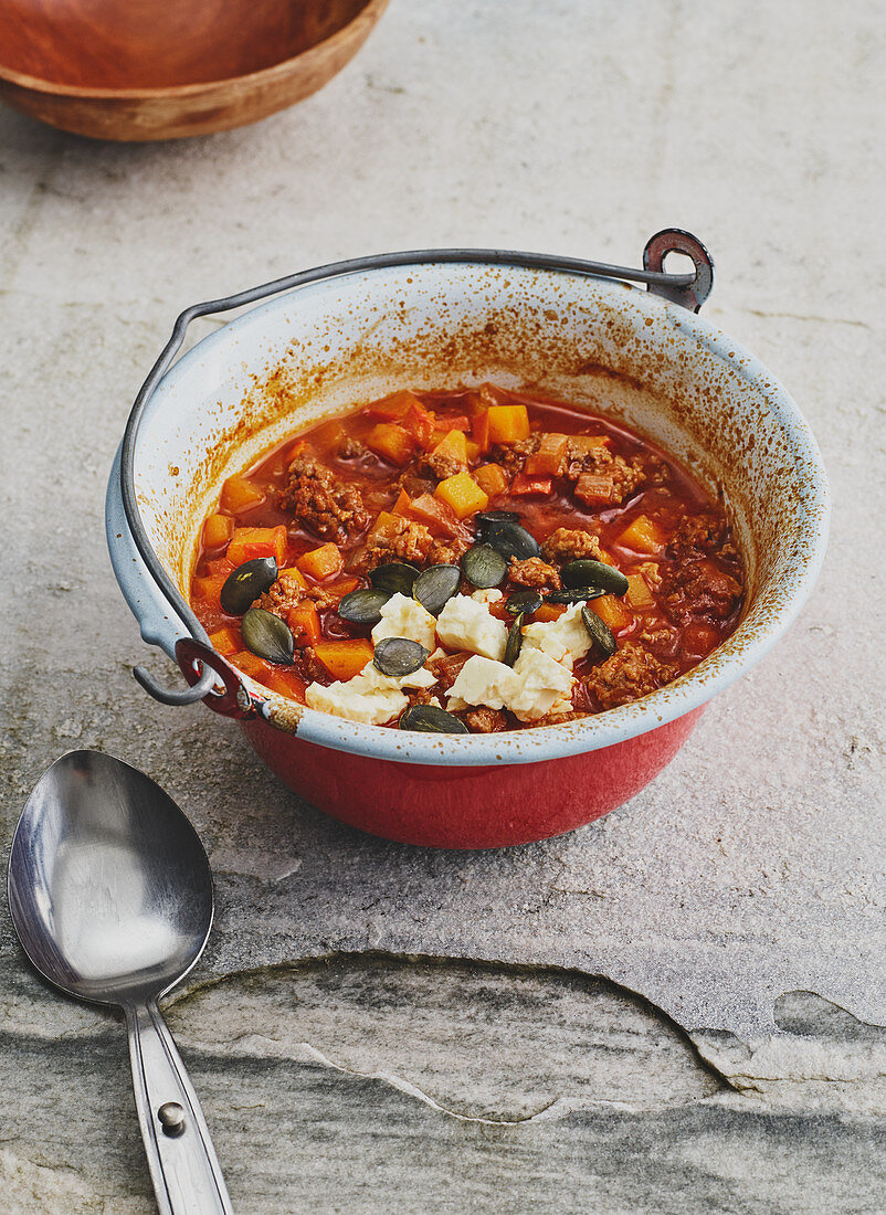 Minced meat with pumpkin and feta cheese
