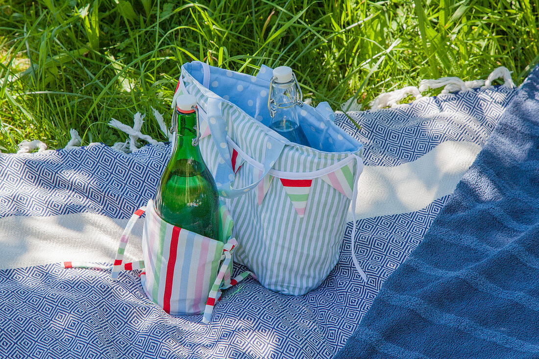 Hand-sewn picnic blanket, bunting and cool bags