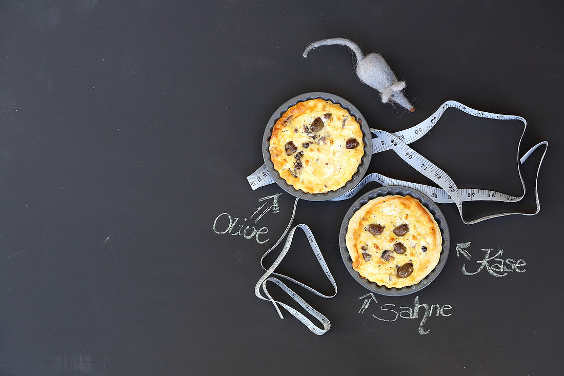 Mini pies with olives and sheep's cheese