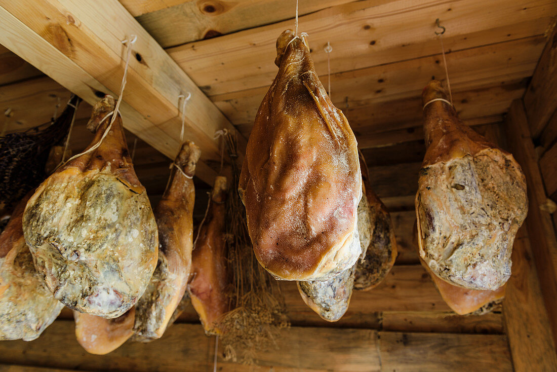 Lots of Kumpiaks drying in a wooden locker (Poland)