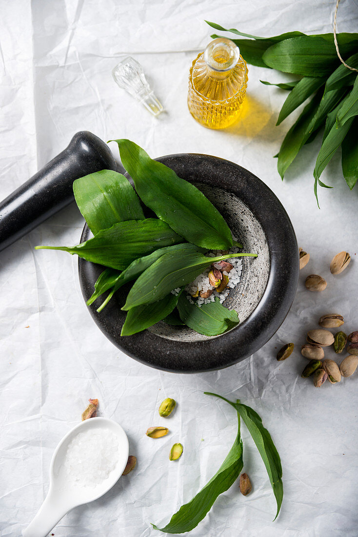 Ingredients for wild garlic pesto (wild garlic, sea salt, pistachios and oil)