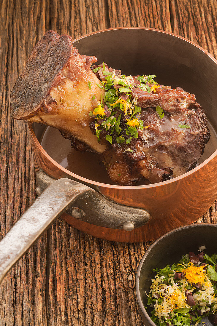 Slow-cooked beef shank with gremolata