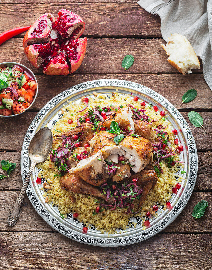 Baked chicken with bulgur pilav and salad