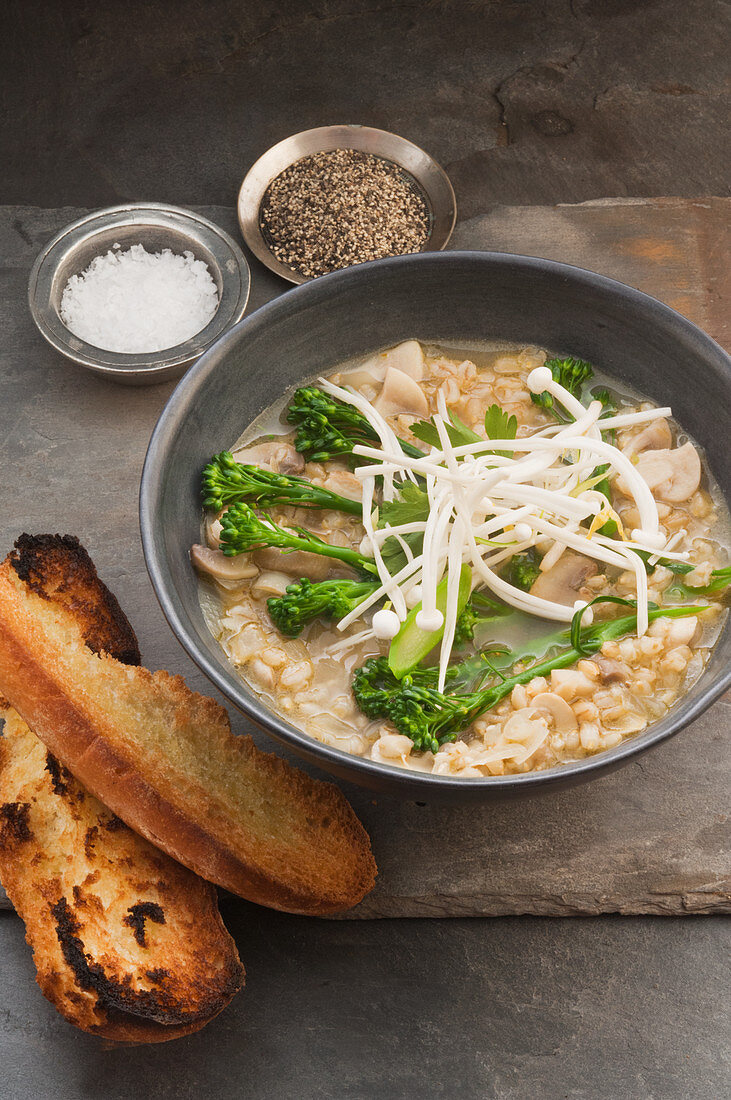 Hot and sour mushroom and barley soup