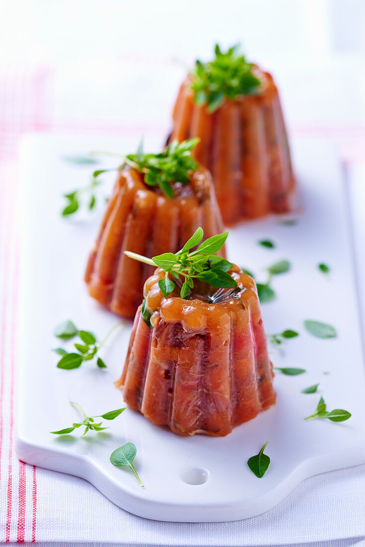 Ratatouille jelly in timbale shapes
