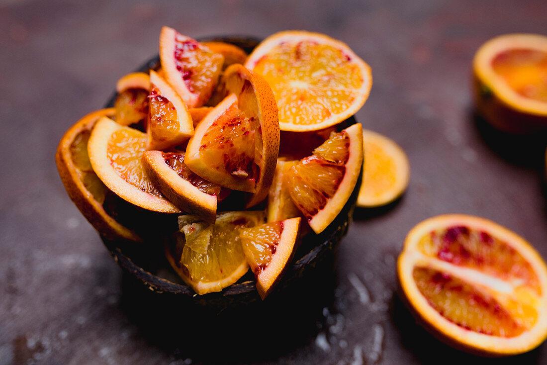 Pieces of blood orange peel