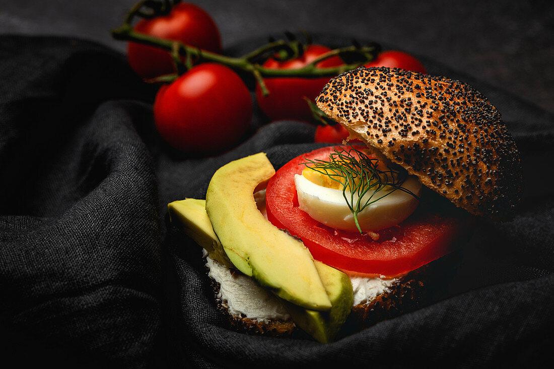 Healthy homemade vegetable sandwich