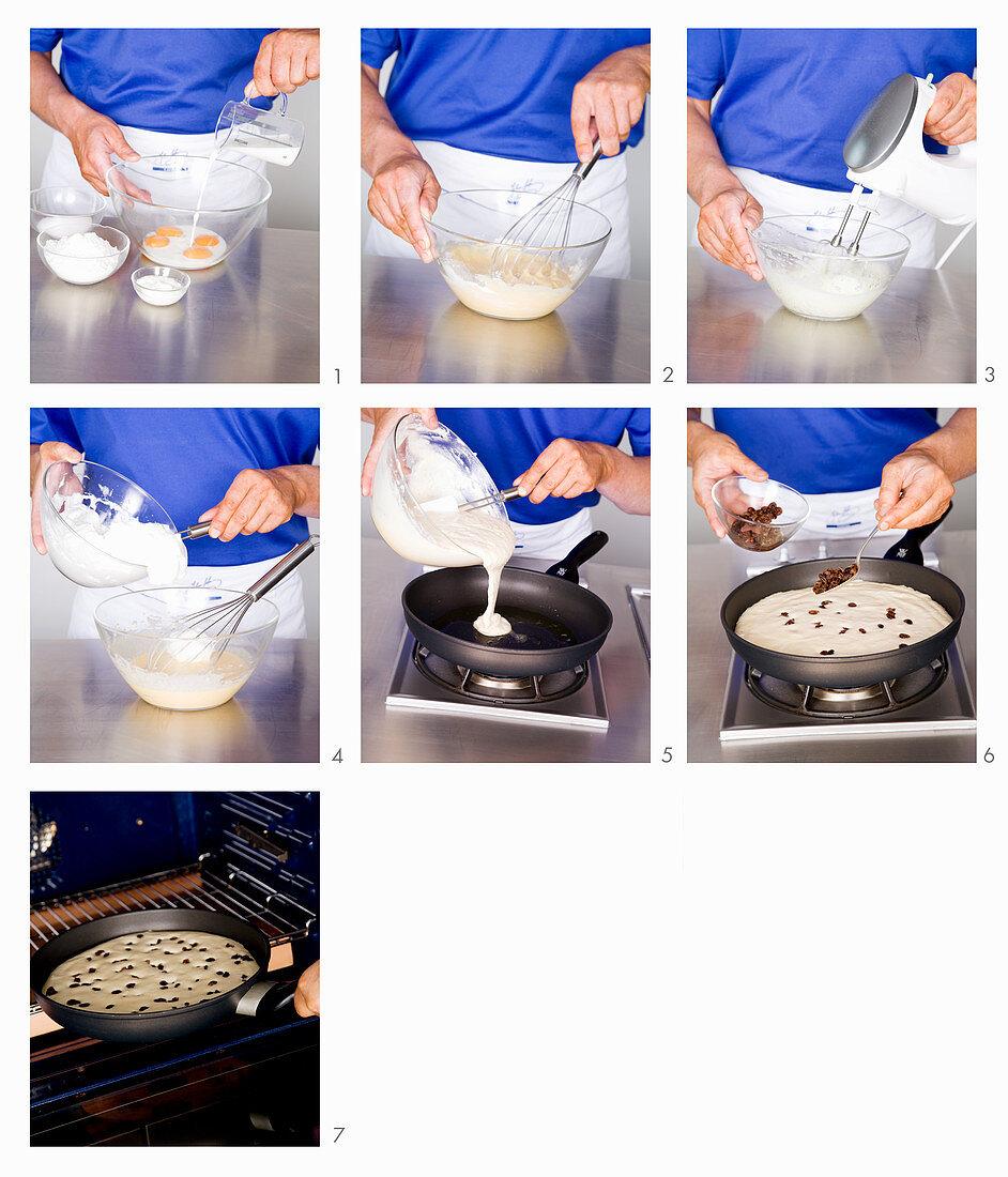 Shredded raisin pancake being made
