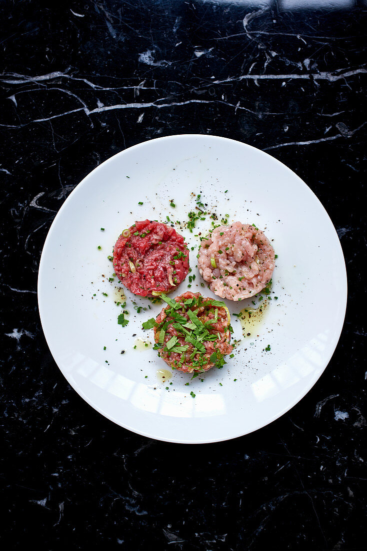 Veal, beef and lamb tartare
