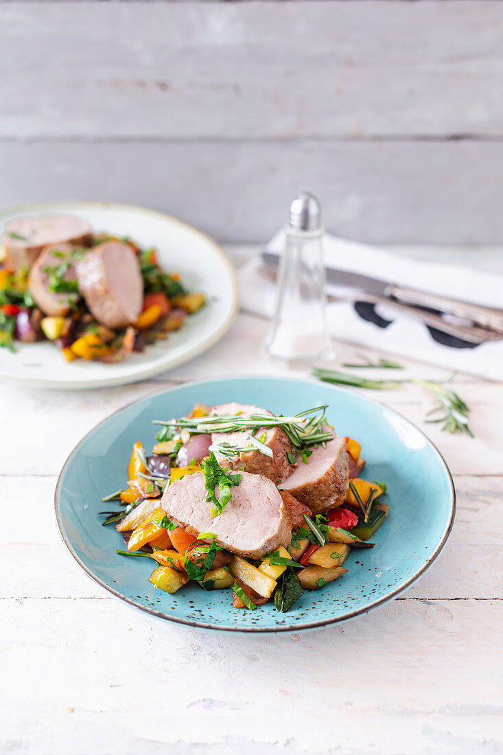 Iberico solomillo – pork fillet with ratatouille and garden herbs