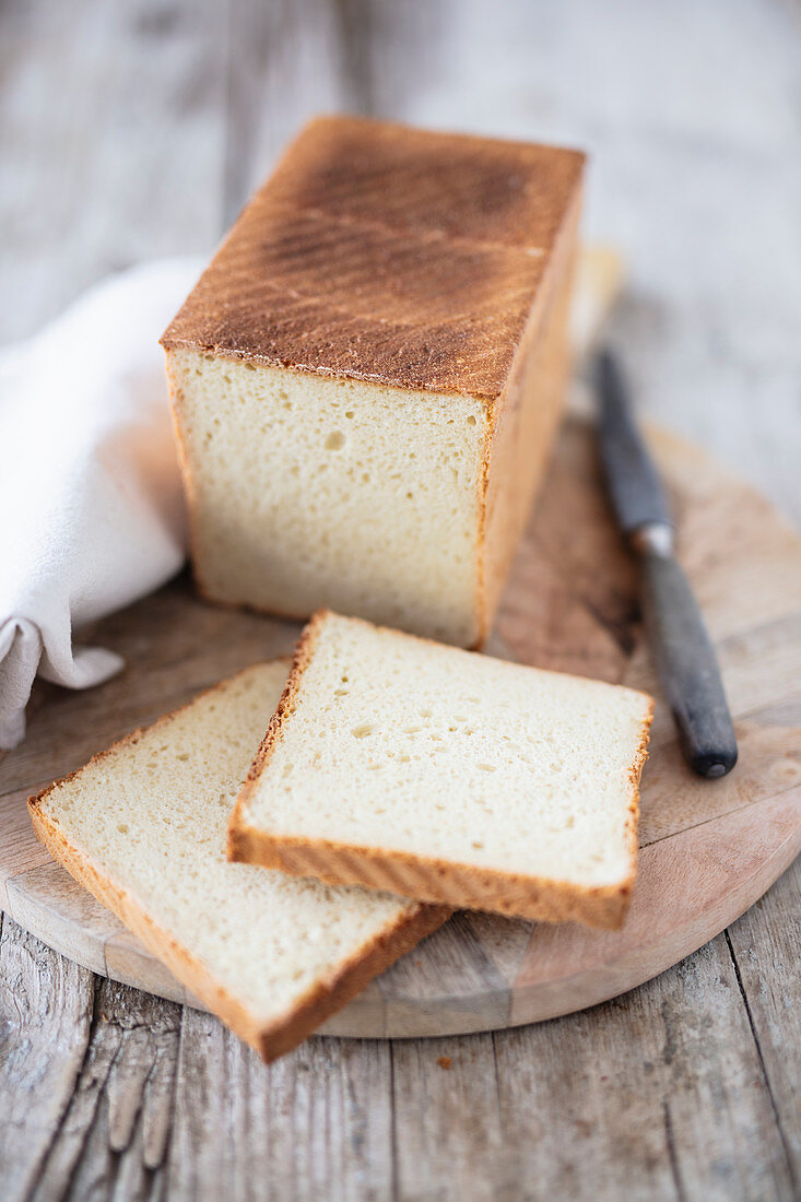 Homemade bread with slices cut off