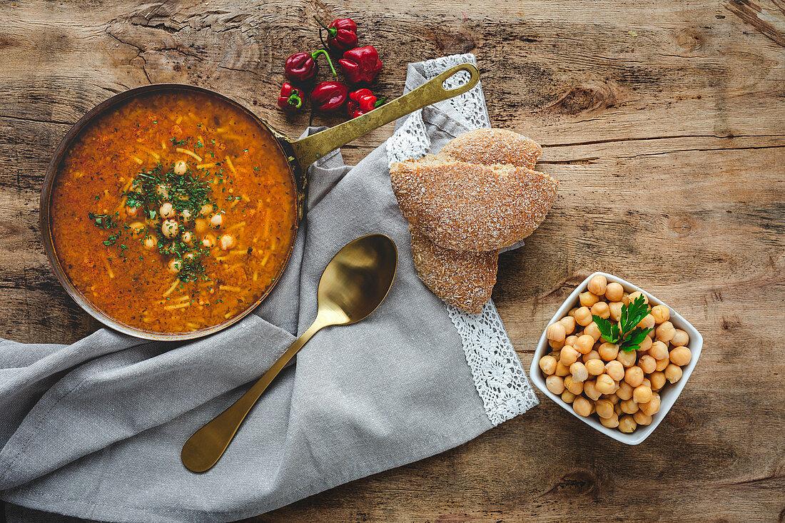 Traditional Harira soup for Ramadan