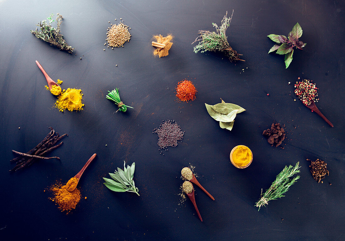 Variety of spices and mediterranean herbs