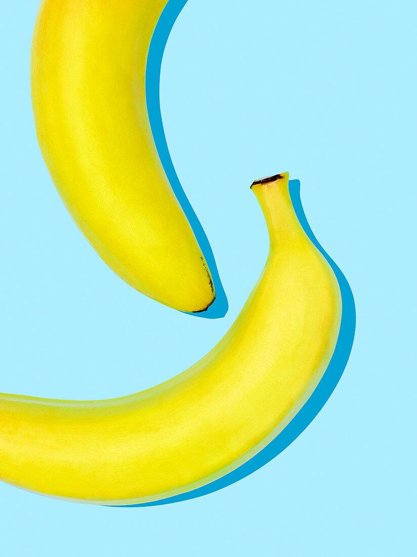 Bananas on a light blue surface