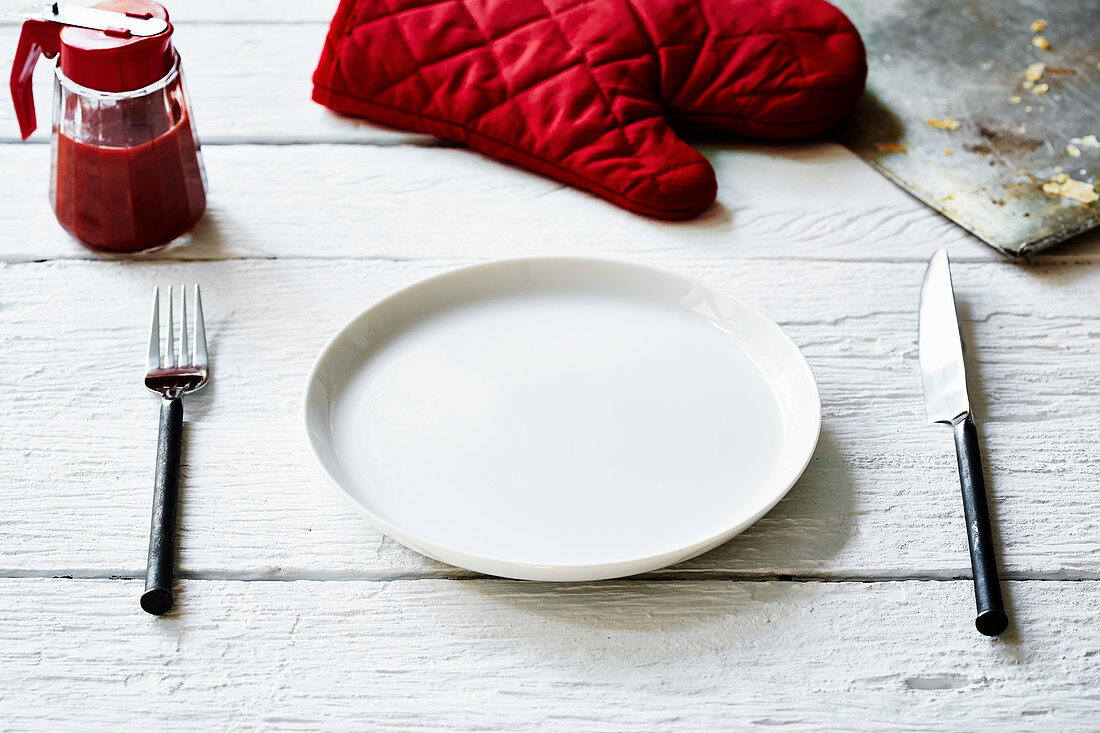 A simple place setting on a wooden table